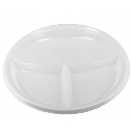 Plastikteller Tiefe 3-geteilt 220mm (360 Einheiten)
