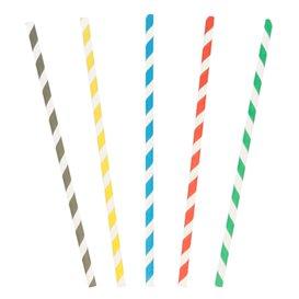 Trinkhalme aus Papier starr farbig gestreift Ø6mm 20cm (250 Stück)