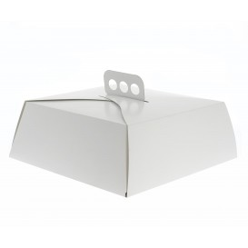 Tortenkarton quadratisch weiß 27x27x10cm (50 Stück)