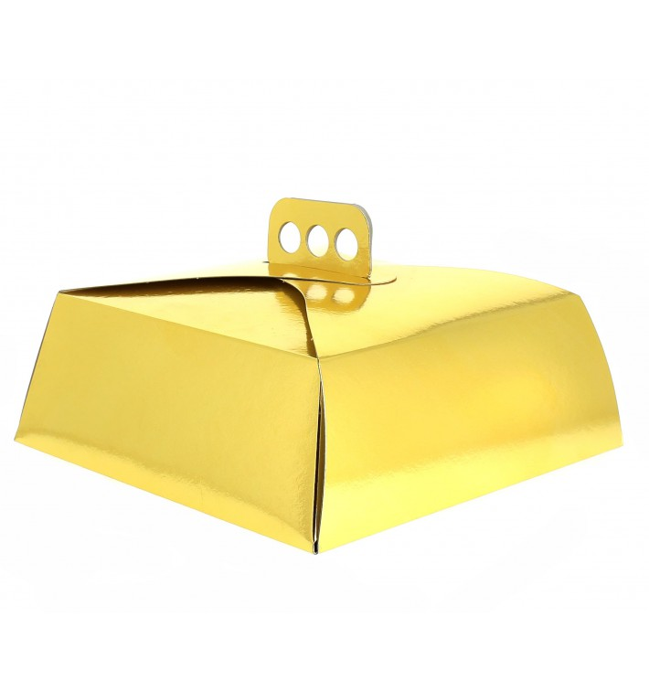 Tortenkarton quadratisch gold 34x34x10cm (50 Stück)