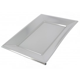 Plastiktablett Silber 330x225mm (12 Stück)