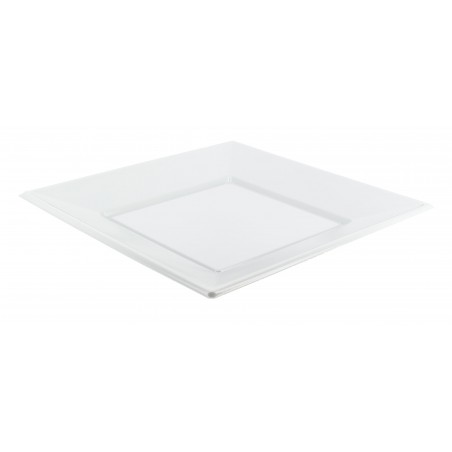 Plato Cuadrado de Plastico Llano Blanco 230mm (25 Uds)