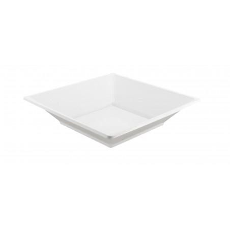 Viereckiger Plastikteller Tiefe weiß 170mm (375 Einh.)
