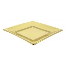 Viereckiger Plastikteller Flach Gold 180mm (5 Stück)