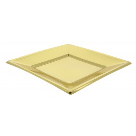 Viereckiger Plastikteller Flach Gold 230mm (90 Stück)