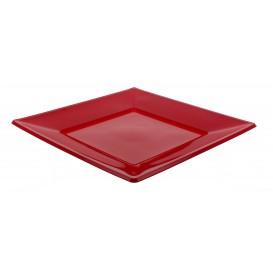 Viereckiger Plastikteller Flach Rot 170mm (375 Stück)
