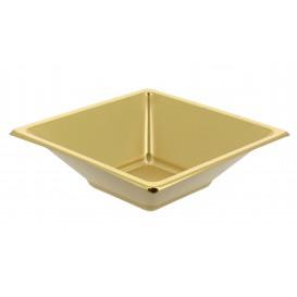 Viereckige Plastikschale Gold 12x12cm (5 Stück)