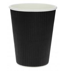 Kaffeebecher aus geriffeltem Karton aus Kraftpapier Schwarz 12 Oz/300ml Ø8,7cm (1.000 Stück)
