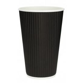 Kaffeebecher aus Wellpappe Schwarz 16 Oz/480ml Ø8,7cm (25 Stück)