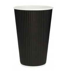 Kaffeebecher aus geriffeltem Karton aus Kraftpapier Schwarz 16 Oz/480ml Ø8,7cm (25 Stück)