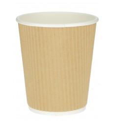 Kaffeebecher aus geriffeltem Karton aus Kraftpapier 12 Oz / 300ml Ø8,7cm (1.000 Stück)