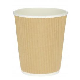 Kaffeebecher aus Wellpappe braun 12 Oz / 360ml Ø8,7cm (25 Stück)