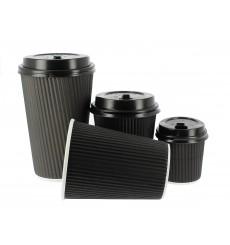 Kaffeebecher aus geriffeltem Karton aus Kraftpapier Schwarz 16 Oz/480ml Ø8,7cm (500 Stück)