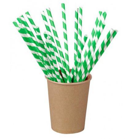 Trinkhalme Starr Einzeln Verpackt Grün/Weiß 21cm 500 Stück)