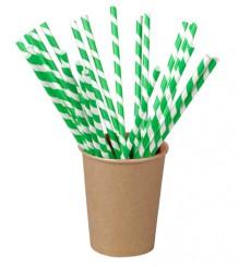 Trinkhalme Starr Einzeln Verpackt Grün/Weiß 21cm (6.000 Stück)