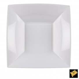 Plastikteller Tiefe Quadratisch Silber 180mm (150 Stück)
