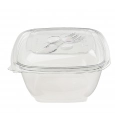 Salatschale aus Plastik Viereckig PET 375ml (50 Stück)