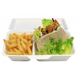 Burger-Box 2-geteilt Zuckerrohr 240x125x65mm (50 Stück)