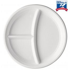 Plastikteller PS 3-geteilt weiß 220mm (1400 Stück)