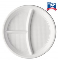 Plastikteller flach 3-geteilt weiß PS 220mm (1400 Einh.)