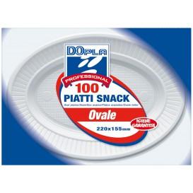 Plastikteller PS Oval flach weiß (100 Stück)
