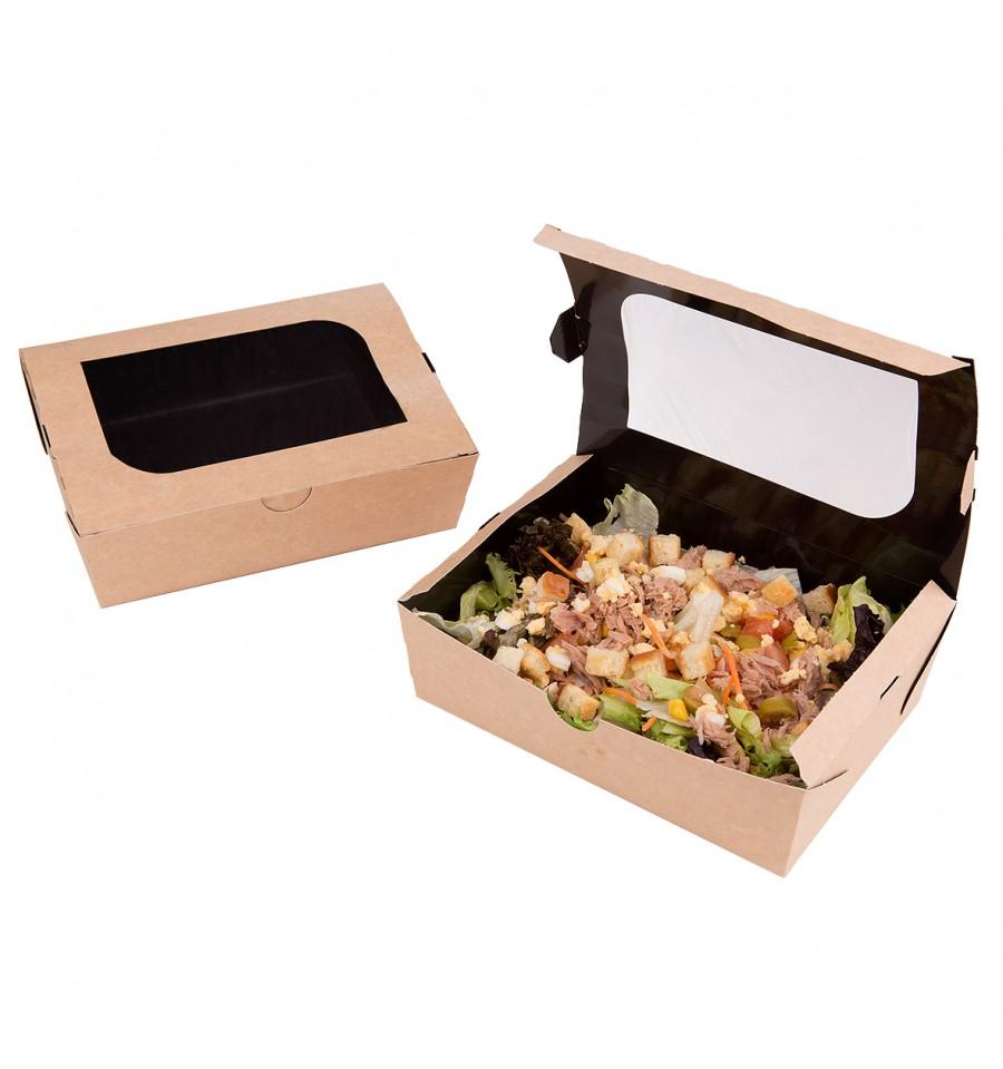 snackbox mit sichtfenster kraft 18x11 7x5 5cm 1000ml 175 st ck. Black Bedroom Furniture Sets. Home Design Ideas