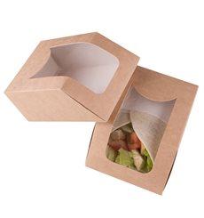 SnackBox mit Fenster Kraft Braun 90x51x120mm (500 Stück)
