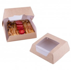 SnackBox mit Fenster Kraft Braun 140x140x50mm (25 Stück)