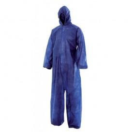 Schutzanzug PP mit Kapuze Grösse L Blau (50 Stück)