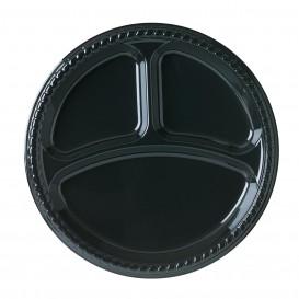 Plastikteller Party PS Flach Schwarz 3-Geteilt Ø260mm (25 Stück)