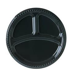 Plastikteller Party PS Flach Schwarz 3-Geteilt Ø260mm (500 Stück)