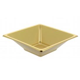 Viereckige Plastikschale Gold 12x12cm (25 Stück)