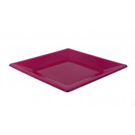 Viereckiger Plastikteller Flach Pink 170mm (5 Stück)
