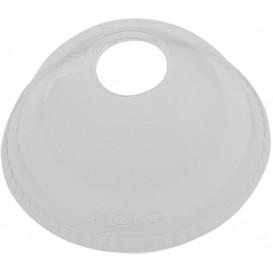 Domdeckel mit Loch für Becher PET Solo Ultra Clear 16Oz Ø9,86 y 24Oz (100 Stück)