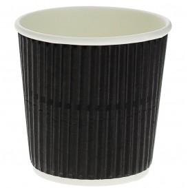 Kaffeebecher aus geriffeltem Karton aus Kraftpapier Schwarz 4 Oz/120ml Ø6,0cm (1.000 Stück)