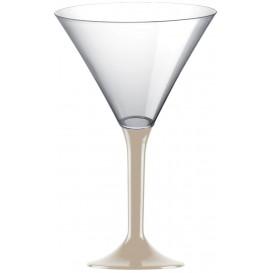 Martinigläser aus Plastik mit Beige Fuß 185ml (20 Stück)