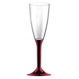 Sektflöte Plastik mit Bordeaux Fuß 120ml (20 Stück)