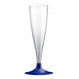 Sektflöte Plastik mit blauem Fuß 140ml (20 Stück)