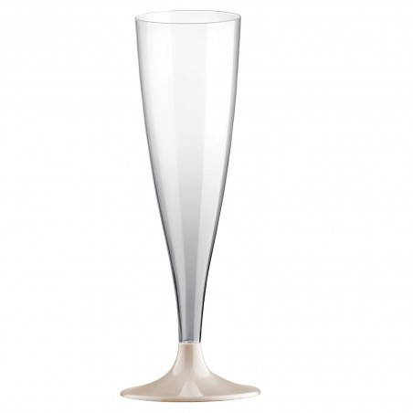 Sektflöte Plastik mit Beige Fuß 140ml (20 Stück)