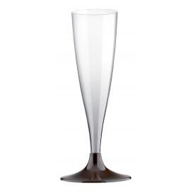 Sektflöte Plastik mit Braun Fuß 140ml (200 Stück)