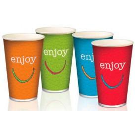 """Karton Glas für kalte Getränke 16 Unzen / 500ml """"Enjoy"""" (100 Einheiten)"""