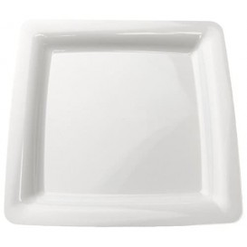 Viereckiger Plastikteller extra hart weiß 18x18cm (200 Stück)