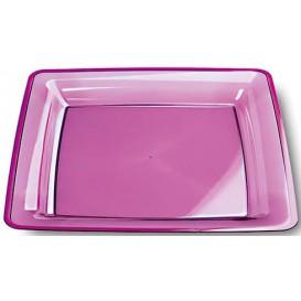 Viereckiger Plastikteller extra hart aubergine 22,5x22,5cm (6 Stück)