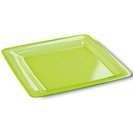 Viereckiger Plastikteller extra hart grün 22,5x22,5cm (72 Stück)