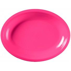 Plastiktablett Oval Fuchsie Round PP 255x190mm (300 Stück)