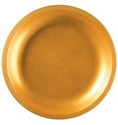 Plastikteller Flach Gold Ø220mm (25 Stück)