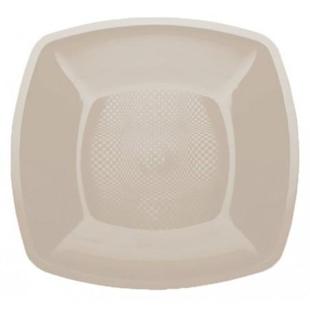Plastikteller Flach Beige Square PP 180mm (25 Stück)