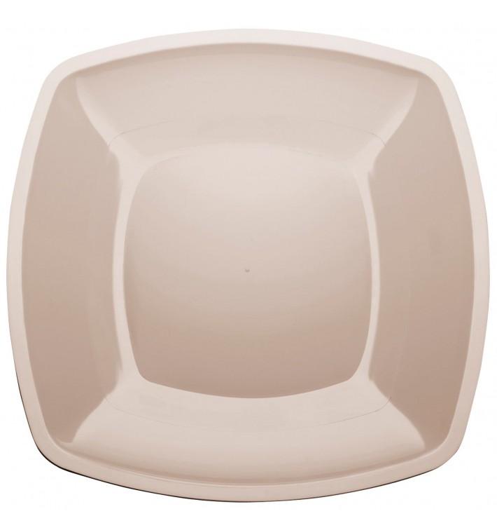 Plastikteller Flach Beige Square PS 300mm (144 Stück)
