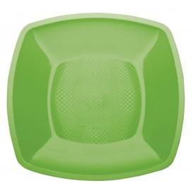 Plastikteller Flach Grasgrün Square PP 180mm (25 Stück)