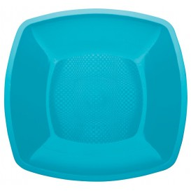 Plastikteller Flach Türkis Square PP 230mm (25 Stück)